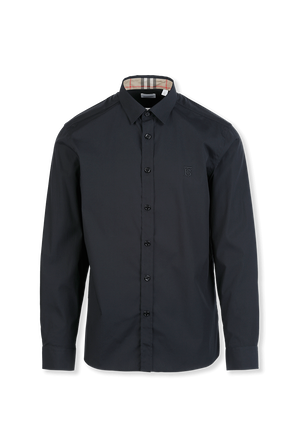 Contrast Button Stretch Cotton Shirt in Black BURBERRY