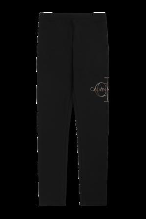 גילאי 4-16 מכנסי טייץ עם לוגו בצבע שחור CALVIN KLEIN