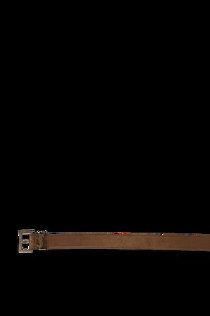 Logo Belt in Brown Suede SAINT LAURENT