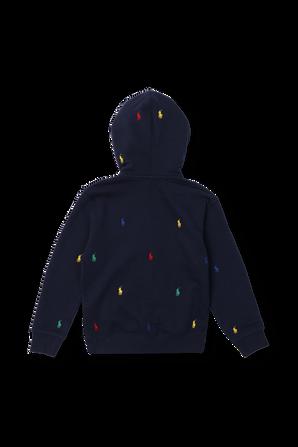 גילאי 8-16 סווטשירט קפוצ'ון כחול עם לוגו רקום POLO RALPH LAUREN KIDS