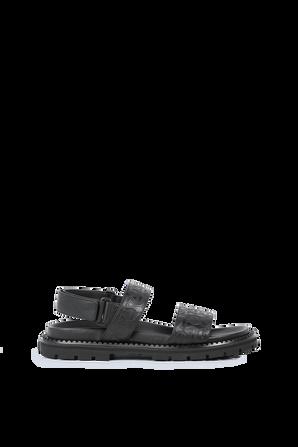 Sandals in Black Leather SALVATORE FERRAGAMO