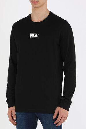 חולצת טי עם שרוולים ארוכים ולוגו בצבע שחור DIESEL