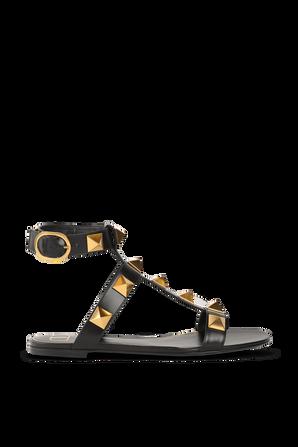 Flat Roman Stud Sandals in Black VALENTINO