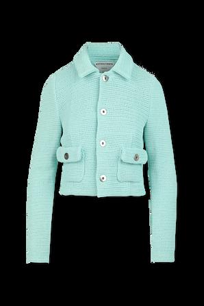 Rib Knitted Jacket in Light Blue BOTTEGA VENETA