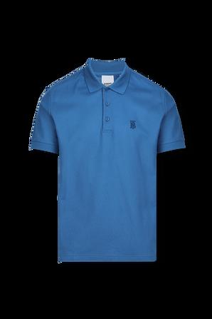 Cotton Pique Polo Shirt In Royal Blue BURBERRY