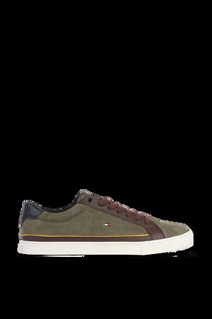 נעלי סניקרס מעור זמש בצבע ירוק TOMMY HILFIGER