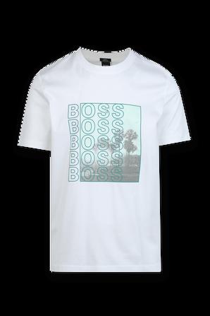 Green Print Tshirt in White HUGO BOSS INTERNATIONAL