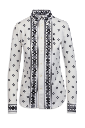 Heidi Print Long Shirt in Black and White POLO RALPH LAUREN