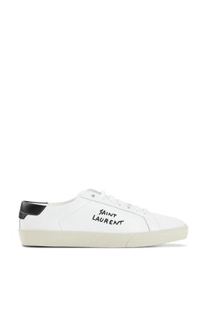 Court Classic Embroidered Sneakers in White Leather SAINT LAURENT