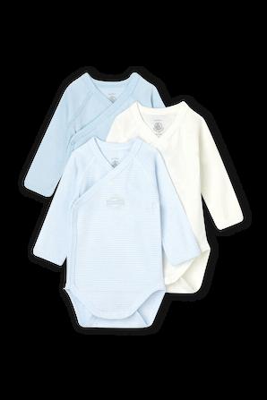 גילאי 1-12 חודשים מארז 3 בגדי גוף בגווני פסטל תכולים PETIT BATEAU