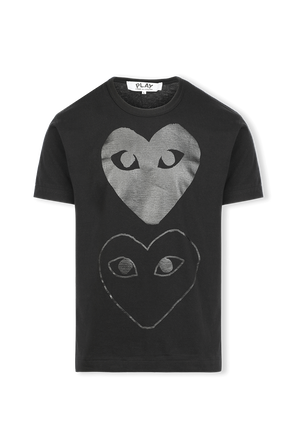 Play T-Shirt in Black With Two Hearts COMME des GARCONS