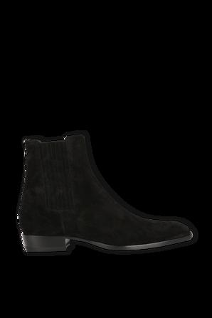 Wyatt Chelsea Boots In Black Suede SAINT LAURENT