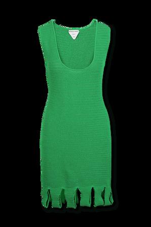 Racked Rib Knitted Dress in Green BOTTEGA VENETA
