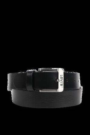 חגורה מעור עם אבזם מטאלי מרובע בצבע שחור LEVI`S