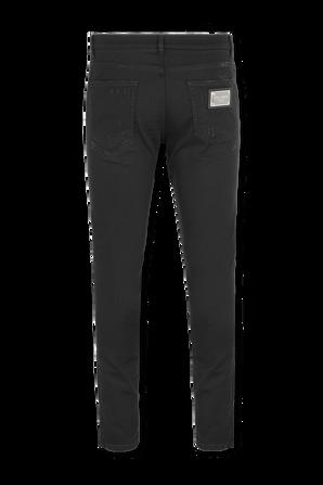 מכנסיים בגזרת סקיני עם תגית כסופה בגוון שחור DOLCE & GABBANA