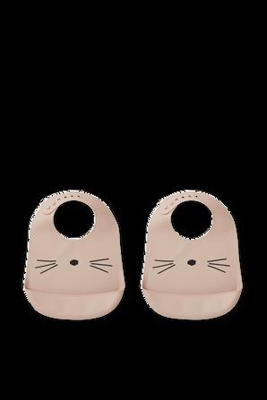 מארז של שני סינרי סיליקון ורודים בעיטור חתולי LIEWOOD