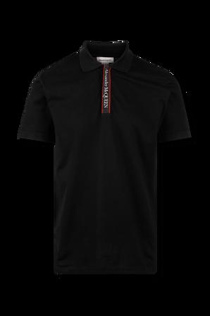 Logotape Polo Shirt in Black ALEXANDER MCQUEEN
