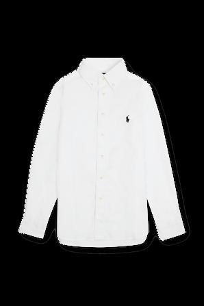 גילאי 8-18 חולצת כפתורים בלבן POLO RALPH LAUREN KIDS