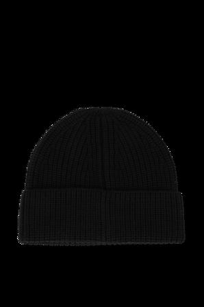 Wool Logo Tag Beanie in Black VALENTINO