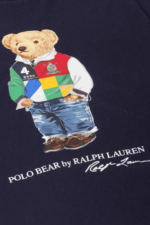 גילאי 8-16 חולצת טי כחולה עם הדפס הדב האייקוני POLO RALPH LAUREN KIDS