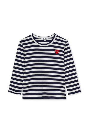 גילאי 2-6 חולצת פסים עם לוגו לב אדום COMME des GARCONS KIDS