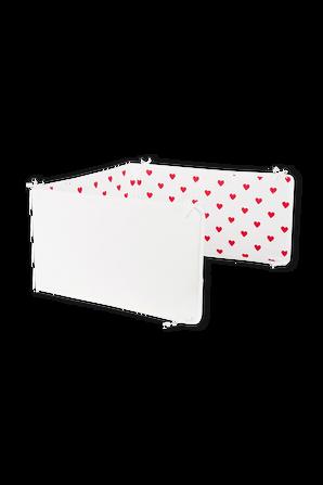 מגן עריסה לבן עם לבבות אדומים PETIT BATEAU