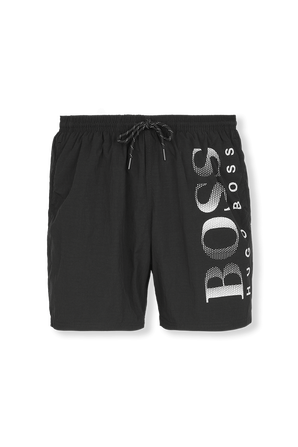 Quick-Drying Black Swim Shorts With Contrast Logo BOSS
