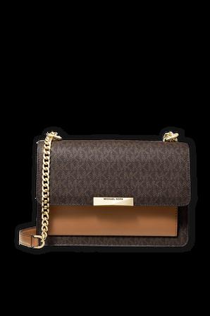 Jade LG Logo and Leather Crossbody Bag in Brown MICHAEL KORS