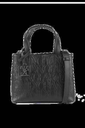 Logomania Shopping Bag in Black ARMANI EXCHANGE