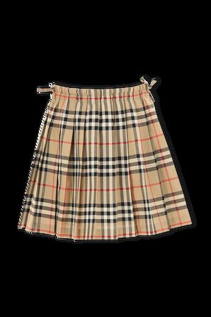 גילאי 3-14 חצאית פליסה בהדפס משבצות אייקוני BURBERRY