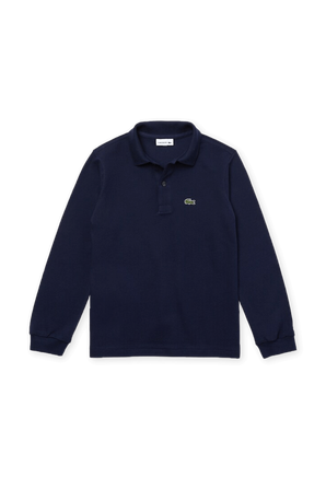 גילאי 2-10 חולצת פולו ארוכה עם לוגו בגוון כחול כהה LACOSTE KIDS