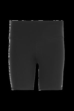 High Waisted Biker Shorts In Glossy Black ALO YOGA