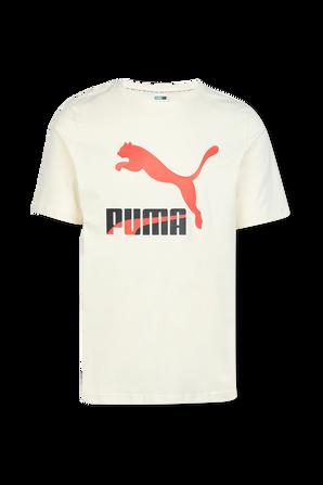 Classics Logo Tee in White and Orange PUMA