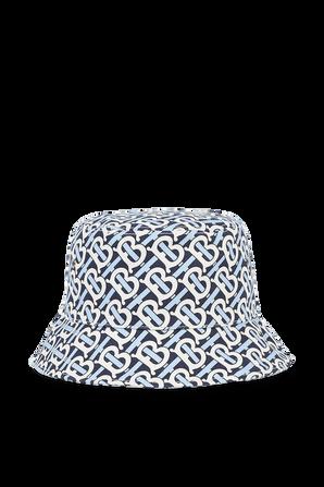 כובע באקט עם דוגמה מונוגרמית בגווני כחול ולבן BURBERRY