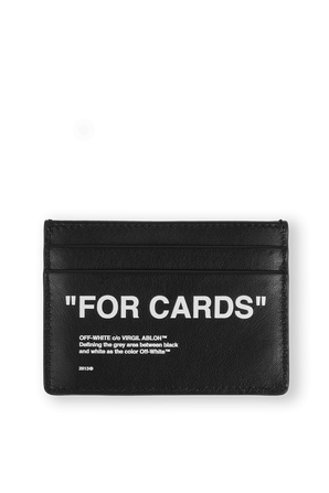 Quote Card Holder in Black Leather OFF WHITE