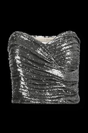 Milan Sequin Top in Silver RONNY KOBO