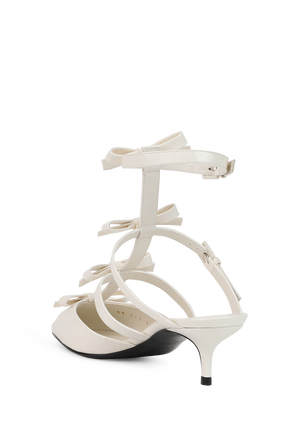 Ankle Strap Pump With French Bows in White VALENTINO GARAVANI