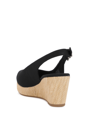 Slingback Wedge Heels in Black TOMMY HILFIGER