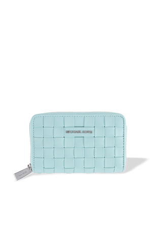 SM Woven Leather Wallet in Blue MICHAEL KORS