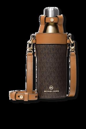 Large Logo Water Bottle Crossbody Brown Monogram Bag MICHAEL KORS