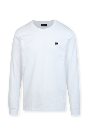 Logo Patch Long Sleeve T-Shirt in White DIESEL