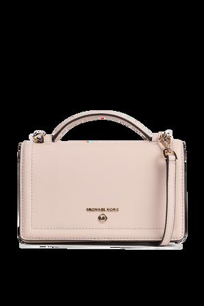 Jet Set SM Leather Smartphone Crossbody Bag in Soft Pink MICHAEL KORS