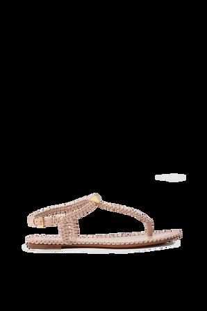 Thong Textured Flat Sandals in Nude VALENTINO GARAVANI