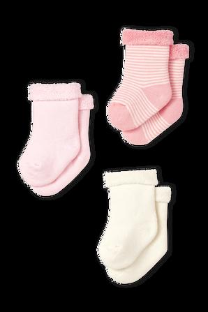 גילאי 3-12 חודשים סט שלושה זוגות גרביים ורודים PETIT BATEAU