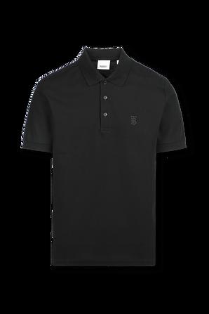 Monogram Motif Cotton Pique Polo Shirt In Black BURBERRY