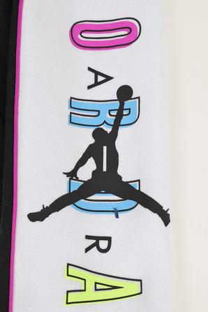 גילאי 8-16 מכנסי טרנינג ארוכים עם כיתוב בגווני שחור ולבן JORDAN