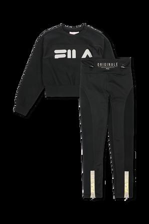 גילאי 6-16 סט ספורטיבי הכולל מכנסי טייץ וסווטשירט בצבע שחור FILA