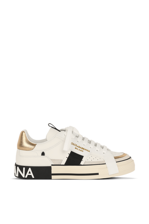 Low Top Sneakers in White and Gold DOLCE & GABBANA
