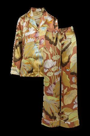 Floral Printed Lila Silk Pyjama OLIVIA VON HALLE