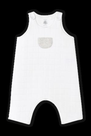 גילאי 1-12 אוברול עם כיס קדמי בלבן PETIT BATEAU